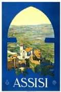 Vintage 1920 Assisi, Italy, Travel Poster